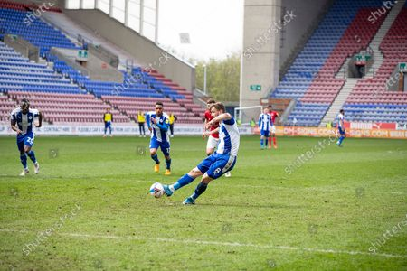 Goal 2-0 Wigan Athletic midfielder Lee Evans (8)scores from the penalty spot  during the EFL Sky Bet League 1 match between Wigan Athletic and Crewe Alexandra at the DW Stadium, Wigan