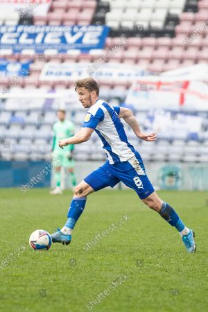 Wigan Athletic midfielder Lee Evans (8) during the EFL Sky Bet League 1 match between Wigan Athletic and Crewe Alexandra at the DW Stadium, Wigan