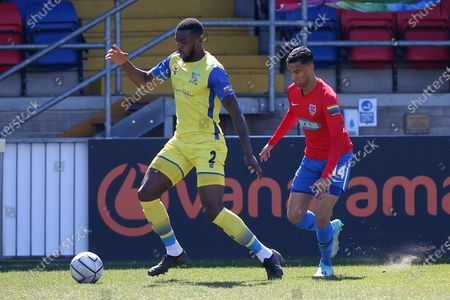 Stock Picture of Tyrone Williams of Solihull and George Saunders of Dagenham during Dagenham & Redbridge vs Solihull Moors, Vanarama National League Football at the Chigwell Construction Stadium on 17th April 2021