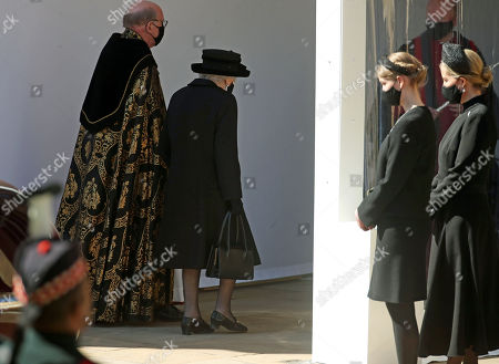 (Left to right) The Dean of Windsor, Queen Elizabeth II, Lady Louise Windsor and Sophie Countess of Wessex at the Galilee Porch of St George's Chapel, Windsor Castle, Berkshire, during the funeral of the Duke of Edinburgh