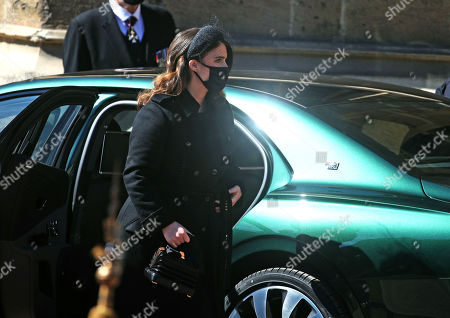 Princess Eugenie arrives at the Galilee Porch of St George's Chapel, Windsor Castle, Berkshire, for the funeral of the Duke of Edinburgh