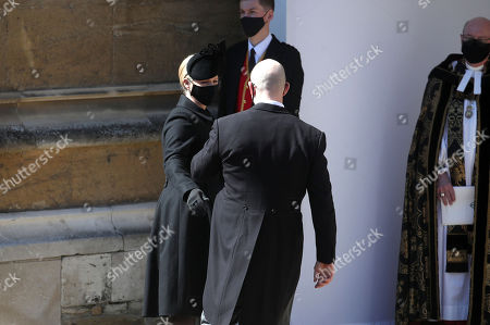 Zara Tindall and Mike Tindall arrive at the Galilee Porch of St George's Chapel, Windsor Castle, Berkshire, for the funeral of the Duke of Edinburgh