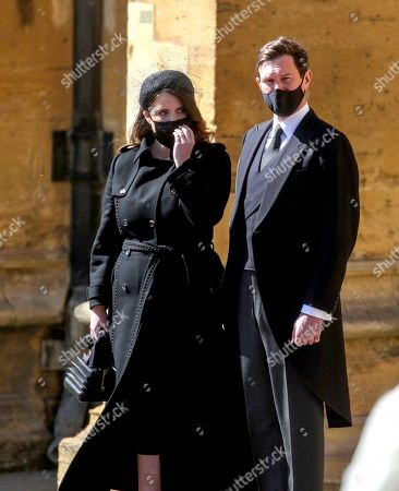 Princess Eugenie and Jack Brooksbank stand at the Galilee Porch of St George's Chapel, Windsor Castle, Berkshire, during the funeral of the Duke of Edinburgh. Picture date: Saturday April 17, 2021. PA Photo. See PA story FUNERAL Philip. Photo credit should read: Steve Parsons/PA Wire