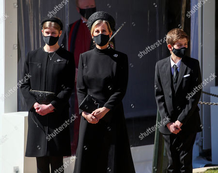 Lady Louise Windsor, Sophie Countess of Wessex and James, James Viscount Severn, wait at the Galilee Porch of St George's Chapel, Windsor Castle, Berkshire, during the funeral of the Duke of Edinburgh