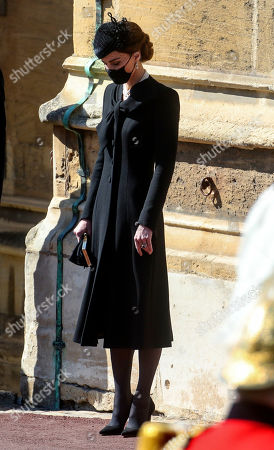 Catherine Duchess of Cambridge at the Galilee Porch of St George's Chapel, Windsor Castle, Berkshire, during the funeral of the Duke of Edinburgh