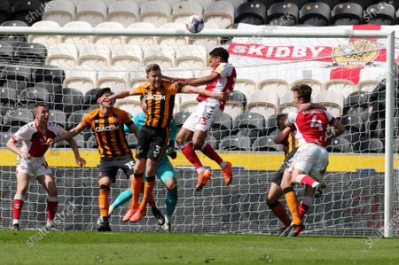 Stock Picture of Fleetwood's James Hill  heads in the Hull box during Hull City vs Fleetwood Town, Sky Bet EFL League 1 Football at The KCOM Stadium on 17th April 2021