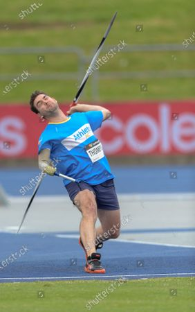 Stock Picture of Matt Thompson of Australian Capital Territory competes in the Men Ambulant Javelin Final during the Australian Track & Field Championships at Sydney Olympic Park Athletic Centre on April 17, 2021 in Sydney, Australia.