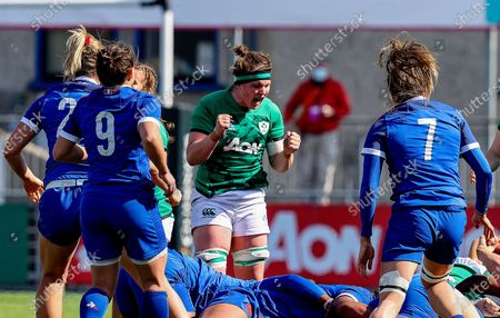 Ireland Women vs France Women. Ireland's Ciara Griffin celebrates a turn over