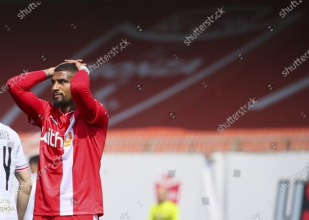 Kevin-Prince Boateng of AC Monza shows his dejection during the Serie B match between AC Monza and US Cremonese at Stadio Brianteo on April 17, 2021 in Monza, Italy.