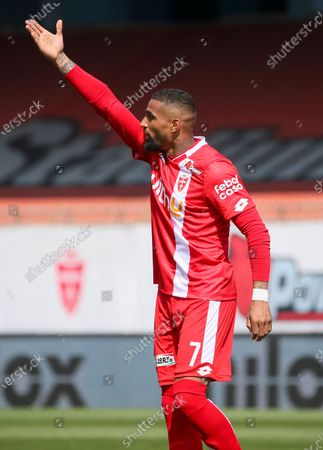 Kevin-Prince Boateng of AC Monza gestures during the Serie B match between AC Monza and US Cremonese at Stadio Brianteo on April 17, 2021 in Monza, Italy.