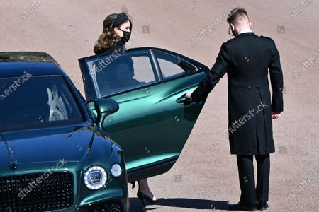 Princess Eugenie arrives for the funeral of Britain's Prince Philip inside Windsor Castle in Windsor, England, . Prince Philip died April 9 at the age of 99 after 73 years of marriage to Britain's Queen Elizabeth II
