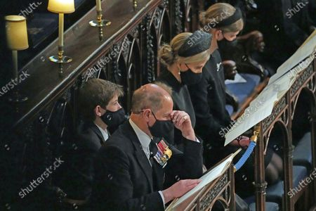 Members of the royal family, the family group with from left, James Viscount Severn, Prince Edward, Sophie Countess of Wessex and Lady Louise Windsor, at St. George's Chapel during the funeral of Prince Philip, at Windsor Castle, Windsor, England, . Prince Philip died April 9 at the age of 99 after 73 years of marriage to Britain's Queen Elizabeth II