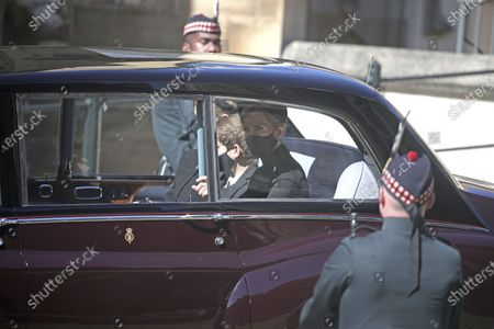 Sophie, Countess of Wessex, Lady Louise Windsor, left, and James, Viscount Severn arrive at the Galilee Porch of St George's Chapel, Windsor Castle, Windsor, England, for the funeral of Britain's Prince Philip. Prince Philip died April 9 at the age of 99 after 73 years of marriage to Britain's Queen Elizabeth II