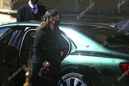 Princess Eugenie arrives at the Galilee Porch of St George's Chapel, Windsor Castle, Windsor, England, for the funeral of Britain's Prince Philip. Prince Philip died April 9 at the age of 99 after 73 years of marriage to Britain's Queen Elizabeth II