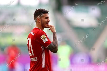 Lucas Hernandez of FC Bayern Muenchen reacts during the German Bundesliga soccer match between VfL Wolfsburg and FC Bayern Munich at Volkswagen Arena in Wolfsburg, Germany, 17 April 2021.