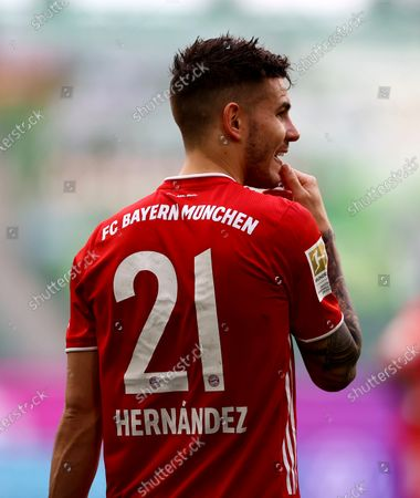 Stock Photo of Lucas Hernandez of FC Bayern Muenchen reacts during the German Bundesliga soccer match between VfL Wolfsburg and FC Bayern Munich at Volkswagen Arena in Wolfsburg, Germany, 17 April 2021.