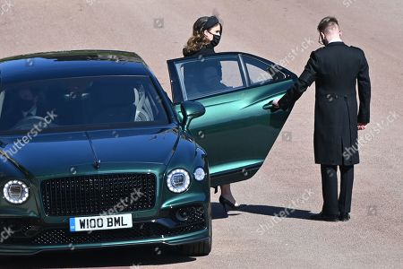Britain's Princess Eugenie of York arrives for the ceremonial funeral procession of Britain's Prince Philip, Prince Philip to St George's Chapel in Windsor Castle in Windsor, west of London, on April 17, 2021. - Philip, who was married to Queen Elizabeth II for 73 years, died on April 9 aged 99 just weeks after a month-long stay in hospital for treatment to a heart condition and an infection.