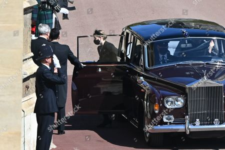 Britain's Lady Louise Windsor, arrives in the quadrangle ahead of the ceremonial funeral procession of Britain's Prince Philip, Prince Philip to St George's Chapel in Windsor Castle in Windsor, west of London, on April 17, 2021. - Philip, who was married to Queen Elizabeth II for 73 years, died on April 9 aged 99 just weeks after a month-long stay in hospital for treatment to a heart condition and an infection.