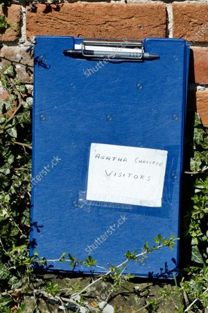 Agatha Christie visitors book in St Marys Churchyard