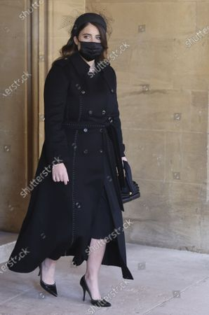 Stock Image of Princess Eugenie attends the funeral of Britain's Prince Philip inside Windsor Castle in Windsor, England, . Prince Philip died April 9 at the age of 99 after 73 years of marriage to Britain's Queen Elizabeth II