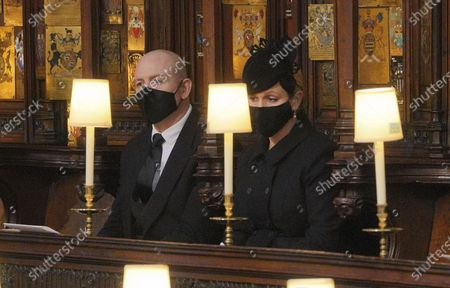 Mike and Zara Tindall during the funeral of Prince Philip, at St George's Chapel in Windsor Castle, Windsor, England, . Prince Philip died April 9 at the age of 99 after 73 years of marriage to Britain's Queen Elizabeth II