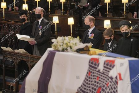 From left, Kate Duchess of Cambridge, Prince William, Prince Edward, Viscount Severn, and Sophie, Countess of Wessex during the funeral of Prince Philip, at St George's Chapel in Windsor Castle, Windsor, England, . Prince Philip died April 9 at the age of 99 after 73 years of marriage to Britain's Queen Elizabeth II