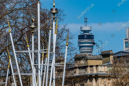 The BT tower shows a tribute message for HRH the Prince Philip, Duke of Edinburgh, behind Clarence House the home of Prince Charles.