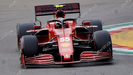 Ferrari driver Carlos Sainz of Spain steers his car during qualifying session for Sunday's Emilia Romagna Formula One Grand Prix, at the Imola track, Italy