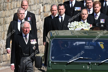 Prince William, Prince William, Prince Andrew, Duke of York, Prince Charles, Prince Charles, Prince Edward, Prince Edward, Peter Phillips, Prince Harry, Duke of Sussex, Earl of Snowdon David Armstrong-Jones, Vice-Admiral Sir Tim Laurence and Princess Anne, Princess Royal, follow Prince Philip, Duke of Edinburgh's coffin during the Ceremonial Procession during the funeral of Prince Philip, Duke of Edinburgh at Windsor Castle on April 17, 2021 in Windsor, England. Prince Philip of Greece and Denmark was born 10 June 1921, in Greece. He served in the British Royal Navy and fought in WWII. He married the then Princess Elizabeth on 20 November 1947 and was created Duke of Edinburgh, Earl of Merioneth, and Baron Greenwich by King VI. He served as Prince Consort to Queen Elizabeth II until his death on April 9 2021, months short of his 100th birthday. His funeral takes place today at Windsor Castle with only 30 guests invited due to Coronavirus pandemic restrictions.