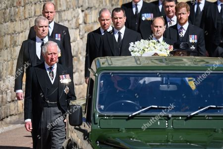 Prince William, Prince William, Prince Andrew, Duke of York, Prince Charles, Prince Charles, Earl of Snowdon David Armstrong-Jones, Peter Phillips, Vice-Admiral Sir Tim Laurence and Prince Harry, Duke of Sussex during the funeral of Prince Philip, Prince Philip at Windsor Castle on April 17, 2021 in Windsor, England. Prince Philip of Greece and Denmark was born 10 June 1921, in Greece. He served in the British Royal Navy and fought in WWII. He married the then Princess Elizabeth on 20 November 1947 and was created Prince Philip, Earl of Merioneth, and Baron Greenwich by King VI. He served as Prince Consort to Queen Elizabeth II until his death on April 9 2021, months short of his 100th birthday. His funeral takes place today at Windsor Castle with only 30 guests invited due to Coronavirus pandemic restrictions.