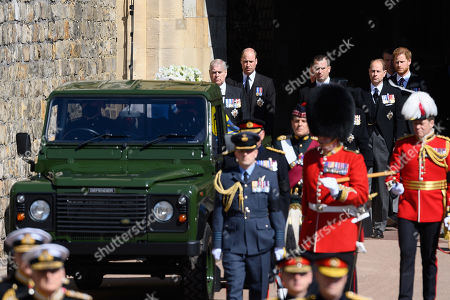 Princess Anne, Princess Royal, Peter Phillips, Vice-Admiral Sir Tim Laurence, Prince Edward, Prince Edward and Prince Harry, Duke of Sussex during the funeral of Prince Philip, Prince Philip at Windsor Castle on April 17, 2021 in Windsor, England. Prince Philip of Greece and Denmark was born 10 June 1921, in Greece. He served in the British Royal Navy and fought in WWII. He married the then Princess Elizabeth on 20 November 1947 and was created Prince Philip, Earl of Merioneth, and Baron Greenwich by King VI. He served as Prince Consort to Queen Elizabeth II until his death on April 9 2021, months short of his 100th birthday. His funeral takes place today at Windsor Castle with only 30 guests invited due to Coronavirus pandemic restrictions.