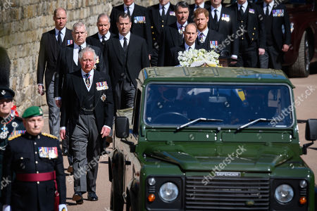 Prince Charles, Prince Charles, Prince Andrew, Duke of York, Prince Edward, Prince Edward, Prince William, Prince William, Peter Phillips, Prince Harry, Duke of Sussex, Earl of Snowdon David Armstrong-Jones and Vice-Admiral Sir Tim Laurence follow Prince Philip, Duke of Edinburgh's coffin during the Ceremonial Procession during the funeral of Prince Philip, Prince Philip at Windsor Castle on April 17, 2021 in Windsor, England. Prince Philip of Greece and Denmark was born 10 June 1921, in Greece. He served in the British Royal Navy and fought in WWII. He married the then Princess Elizabeth on 20 November 1947 and was created Prince Philip, Earl of Merioneth, and Baron Greenwich by King VI. He served as Prince Consort to Queen Elizabeth II until his death on April 9 2021, months short of his 100th birthday. His funeral takes place today at Windsor Castle with only 30 guests invited due to Coronavirus pandemic restrictions.