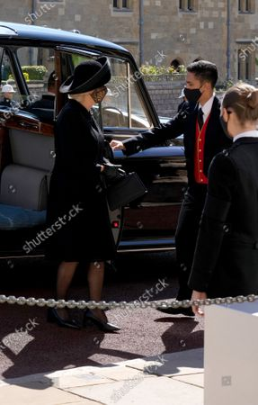 Camilla Duchess of Cornwall arrives for the funeral of the Duke of Edinburgh at St George's Chapel, Windsor Castle, Berkshire.
