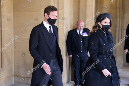 Jack Brooksbank and Princess Eugenie arrive for the funeral of Prince Philip, Prince Philip at Windsor Castle on April 17, 2021 in Windsor, England. Prince Philip of Greece and Denmark was born 10 June 1921, in Greece. He served in the British Royal Navy and fought in WWII. He married the then Princess Elizabeth on 20 November 1947 and was created Prince Philip, Earl of Merioneth, and Baron Greenwich by King VI. He served as Prince Consort to Queen Elizabeth II until his death on April 9 2021, months short of his 100th birthday. His funeral takes place today at Windsor Castle with only 30 guests invited due to Coronavirus pandemic restrictions.