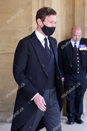 Jack Brooksbank during the funeral of Prince Philip, Prince Philip at Windsor Castle on April 17, 2021 in Windsor, England. Prince Philip of Greece and Denmark was born 10 June 1921, in Greece. He served in the British Royal Navy and fought in WWII. He married the then Princess Elizabeth on 20 November 1947 and was created Prince Philip, Earl of Merioneth, and Baron Greenwich by King VI. He served as Prince Consort to Queen Elizabeth II until his death on April 9 2021, months short of his 100th birthday. His funeral takes place today at Windsor Castle with only 30 guests invited due to Coronavirus pandemic restrictions.