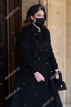Princess Eugenie arrives for the funeral of Prince Philip, Prince Philip at Windsor Castle on April 17, 2021 in Windsor, England. Prince Philip of Greece and Denmark was born 10 June 1921, in Greece. He served in the British Royal Navy and fought in WWII. He married the then Princess Elizabeth on 20 November 1947 and was created Prince Philip, Earl of Merioneth, and Baron Greenwich by King VI. He served as Prince Consort to Queen Elizabeth II until his death on April 9 2021, months short of his 100th birthday. His funeral takes place today at Windsor Castle with only 30 guests invited due to Coronavirus pandemic restrictions.