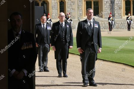 Service personnel during the funeral of Prince Philip, Prince Philip at Windsor Castle on April 17, 2021 in Windsor, England. Prince Philip of Greece and Denmark was born 10 June 1921, in Greece. He served in the British Royal Navy and fought in WWII. He married the then Princess Elizabeth on 20 November 1947 and was created Prince Philip, Earl of Merioneth, and Baron Greenwich by King VI. He served as Prince Consort to Queen Elizabeth II until his death on April 9 2021, months short of his 100th birthday. His funeral takes place today at Windsor Castle with only 30 guests invited due to Coronavirus pandemic restrictions.