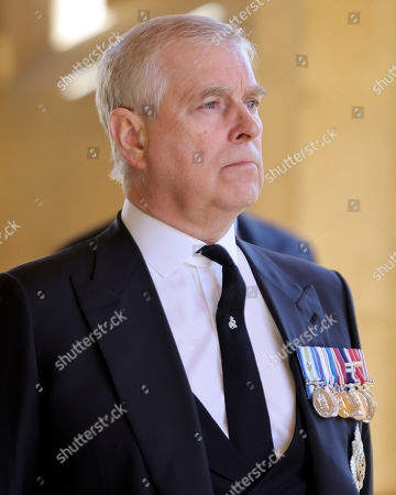 Prince Andrew, Duke of York during the funeral of Prince Philip, Prince Philip at Windsor Castle on April 17, 2021 in Windsor, England. Prince Philip of Greece and Denmark was born 10 June 1921, in Greece. He served in the British Royal Navy and fought in WWII. He married the then Princess Elizabeth on 20 November 1947 and was created Prince Philip, Earl of Merioneth, and Baron Greenwich by King VI. He served as Prince Consort to Queen Elizabeth II until his death on April 9 2021, months short of his 100th birthday. His funeral takes place today at Windsor Castle with only 30 guests invited due to Coronavirus pandemic restrictions.