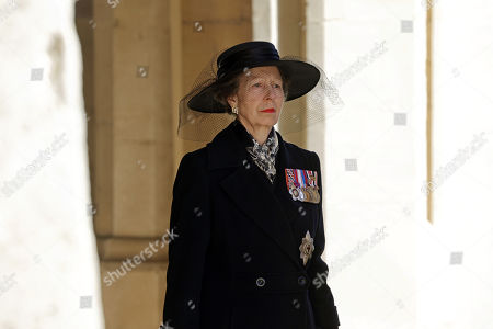 Princess Anne, Princess Royal during the funeral of Prince Philip, Prince Philip at Windsor Castle on April 17, 2021 in Windsor, England. Prince Philip of Greece and Denmark was born 10 June 1921, in Greece. He served in the British Royal Navy and fought in WWII. He married the then Princess Elizabeth on 20 November 1947 and was created Prince Philip, Earl of Merioneth, and Baron Greenwich by King VI. He served as Prince Consort to Queen Elizabeth II until his death on April 9 2021, months short of his 100th birthday. His funeral takes place today at Windsor Castle with only 30 guests invited due to Coronavirus pandemic restrictions.