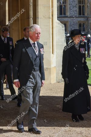Stock Picture of Prince Harry, Duke of Sussex, Prince Edward, Prince Edward, Prince Charles, Prince Charles and Princess Anne, Princess Royal during the funeral of Prince Philip, Prince Philip at Windsor Castle on April 17, 2021 in Windsor, England. Prince Philip of Greece and Denmark was born 10 June 1921, in Greece. He served in the British Royal Navy and fought in WWII. He married the then Princess Elizabeth on 20 November 1947 and was created Prince Philip, Earl of Merioneth, and Baron Greenwich by King VI. He served as Prince Consort to Queen Elizabeth II until his death on April 9 2021, months short of his 100th birthday. His funeral takes place today at Windsor Castle with only 30 guests invited due to Coronavirus pandemic restrictions.