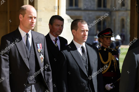 Prince William, Prince William Vice-Admiral, Sir Tim Laurence and Peter Phillips during the funeral of Prince Philip, Prince Philip at Windsor Castle on April 17, 2021 in Windsor, England. Prince Philip of Greece and Denmark was born 10 June 1921, in Greece. He served in the British Royal Navy and fought in WWII. He married the then Princess Elizabeth on 20 November 1947 and was created Prince Philip, Earl of Merioneth, and Baron Greenwich by King VI. He served as Prince Consort to Queen Elizabeth II until his death on April 9 2021, months short of his 100th birthday. His funeral takes place today at Windsor Castle with only 30 guests invited due to Coronavirus pandemic restrictions.