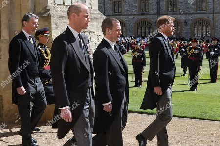 Prince William, Prince William Vice-Admiral, Sir Tim Laurence, Peter Phillips and Prince Harry, Duke of Sussex during the funeral of Prince Philip, Prince Philip at Windsor Castle on April 17, 2021 in Windsor, England. Prince Philip of Greece and Denmark was born 10 June 1921, in Greece. He served in the British Royal Navy and fought in WWII. He married the then Princess Elizabeth on 20 November 1947 and was created Prince Philip, Earl of Merioneth, and Baron Greenwich by King VI. He served as Prince Consort to Queen Elizabeth II until his death on April 9 2021, months short of his 100th birthday. His funeral takes place today at Windsor Castle with only 30 guests invited due to Coronavirus pandemic restrictions.