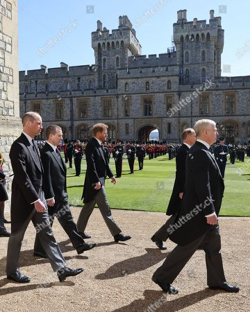 Stock Image of Prince William, Prince William, Peter Phillips, Prince Harry, Duke of Sussex, Prince Andrew, Duke of York and Prince Edward, Prince Edward during the Ceremonial Procession during the funeral of Prince Philip, Prince Philip at Windsor Castle on April 17, 2021 in Windsor, England. Prince Philip of Greece and Denmark was born 10 June 1921, in Greece. He served in the British Royal Navy and fought in WWII. He married the then Princess Elizabeth on 20 November 1947 and was created Prince Philip, Earl of Merioneth, and Baron Greenwich by King VI. He served as Prince Consort to Queen Elizabeth II until his death on April 9 2021, months short of his 100th birthday. His funeral takes place today at Windsor Castle with only 30 guests invited due to Coronavirus pandemic restrictions.