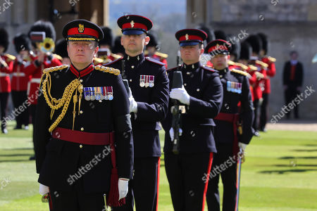 The Queen's Royal Hussars during the funeral of Prince Philip, Prince Philip at Windsor Castle on April 17, 2021 in Windsor, England. Prince Philip of Greece and Denmark was born 10 June 1921, in Greece. He served in the British Royal Navy and fought in WWII. He married the then Princess Elizabeth on 20 November 1947 and was created Prince Philip, Earl of Merioneth, and Baron Greenwich by King VI. He served as Prince Consort to Queen Elizabeth II until his death on April 9 2021, months short of his 100th birthday. His funeral takes place today at Windsor Castle with only 30 guests invited due to Coronavirus pandemic restrictions.