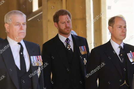 Prince Andrew, Duke of York, Prince Edward, Prince Harry, Duke of Sussex and Prince Edward, Prince Edward during the funeral of Prince Philip, Prince Philip at Windsor Castle on April 17, 2021 in Windsor, England. Prince Philip of Greece and Denmark was born 10 June 1921, in Greece. He served in the British Royal Navy and fought in WWII. He married the then Princess Elizabeth on 20 November 1947 and was created Prince Philip, Earl of Merioneth, and Baron Greenwich by King VI. He served as Prince Consort to Queen Elizabeth II until his death on April 9 2021, months short of his 100th birthday. His funeral takes place today at Windsor Castle with only 30 guests invited due to Coronavirus pandemic restrictions.