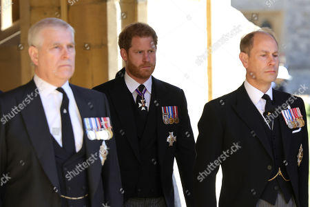 Prince Andrew, Duke of York, Prince Harry, Duke of Sussex and Prince Edward, Prince Edward during the funeral of Prince Philip, Prince Philip at Windsor Castle on April 17, 2021 in Windsor, England. Prince Philip of Greece and Denmark was born 10 June 1921, in Greece. He served in the British Royal Navy and fought in WWII. He married the then Princess Elizabeth on 20 November 1947 and was created Prince Philip, Earl of Merioneth, and Baron Greenwich by King VI. He served as Prince Consort to Queen Elizabeth II until his death on April 9 2021, months short of his 100th birthday. His funeral takes place today at Windsor Castle with only 30 guests invited due to Coronavirus pandemic restrictions.