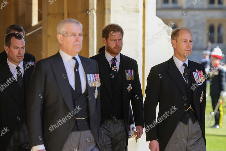 Peter Phillips, Prince Andrew, Duke of York, Prince Harry, Duke of Sussex and Prince Edward, Prince Edward during the funeral of Prince Philip, Prince Philip at Windsor Castle on April 17, 2021 in Windsor, England. Prince Philip of Greece and Denmark was born 10 June 1921, in Greece. He served in the British Royal Navy and fought in WWII. He married the then Princess Elizabeth on 20 November 1947 and was created Prince Philip, Earl of Merioneth, and Baron Greenwich by King VI. He served as Prince Consort to Queen Elizabeth II until his death on April 9 2021, months short of his 100th birthday. His funeral takes place today at Windsor Castle with only 30 guests invited due to Coronavirus pandemic restrictions.