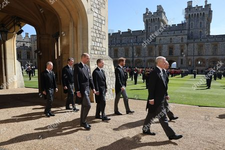 Vice-Admiral Sir Tim Laurence, Prince Edward, Prince Edward, Earl of Snowdon David Armstrong-Jones, Prince William, Prince William, Peter Phillips, Prince Harry, Duke of Sussex and Prince Andrew, Duke of York follow Prince Philip, Duke of Edinburgh's coffin during the Ceremonial Procession during the funeral of Prince Philip, Prince Philip at Windsor Castle on April 17, 2021 in Windsor, England. Prince Philip of Greece and Denmark was born 10 June 1921, in Greece. He served in the British Royal Navy and fought in WWII. He married the then Princess Elizabeth on 20 November 1947 and was created Prince Philip, Earl of Merioneth, and Baron Greenwich by King VI. He served as Prince Consort to Queen Elizabeth II until his death on April 9 2021, months short of his 100th birthday. His funeral takes place today at Windsor Castle with only 30 guests invited due to Coronavirus pandemic restrictions.