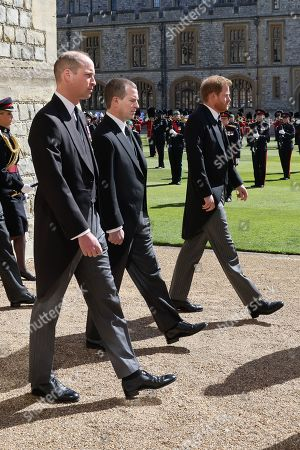 Prince William, Prince William, Peter Phillips and Prince Harry, Duke of Sussex during the Ceremonial Procession during the funeral of Prince Philip, Prince Philip at Windsor Castle on April 17, 2021 in Windsor, England. Prince Philip of Greece and Denmark was born 10 June 1921, in Greece. He served in the British Royal Navy and fought in WWII. He married the then Princess Elizabeth on 20 November 1947 and was created Prince Philip, Earl of Merioneth, and Baron Greenwich by King VI. He served as Prince Consort to Queen Elizabeth II until his death on April 9 2021, months short of his 100th birthday. His funeral takes place today at Windsor Castle with only 30 guests invited due to Coronavirus pandemic restrictions.