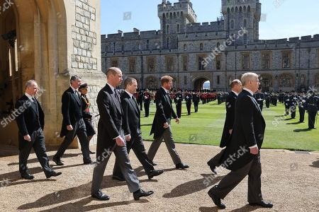 Prince Andrew, Duke of York, Prince Edward, Prince Edward, Prince William, Prince William, Peter Phillips, Prince Harry, Duke of Sussex, Earl of Snowdon David Armstrong-Jones and Vice-Admiral Sir Tim Laurence follow Prince Philip, Duke of Edinburgh's coffin during the Ceremonial Procession during the funeral of Prince Philip, Prince Philip at Windsor Castle on April 17, 2021 in Windsor, England. Prince Philip of Greece and Denmark was born 10 June 1921, in Greece. He served in the British Royal Navy and fought in WWII. He married the then Princess Elizabeth on 20 November 1947 and was created Prince Philip, Earl of Merioneth, and Baron Greenwich by King VI. He served as Prince Consort to Queen Elizabeth II until his death on April 9 2021, months short of his 100th birthday. His funeral takes place today at Windsor Castle with only 30 guests invited due to Coronavirus pandemic restrictions.